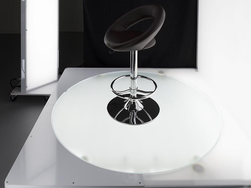 plataforma giratoria retroiluminada para fotografía de productos grandes y pesados