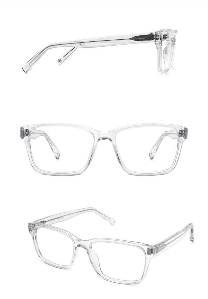 fotografía de gafas transparentes para un sitio de comercio electrónico