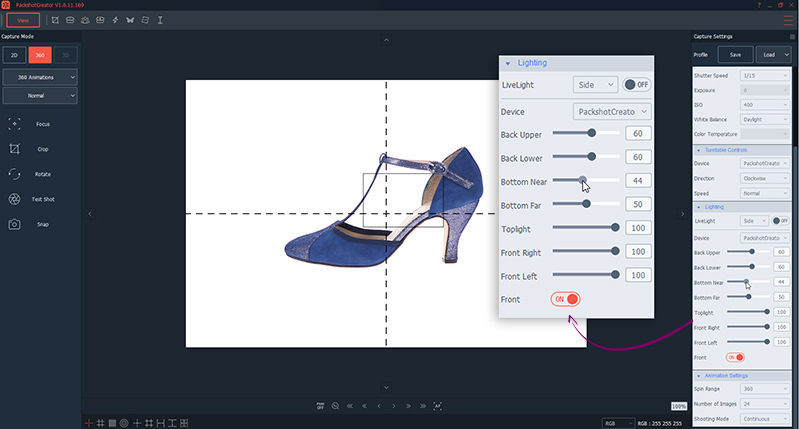 Ajustes de luz para foto 360° de zapatos