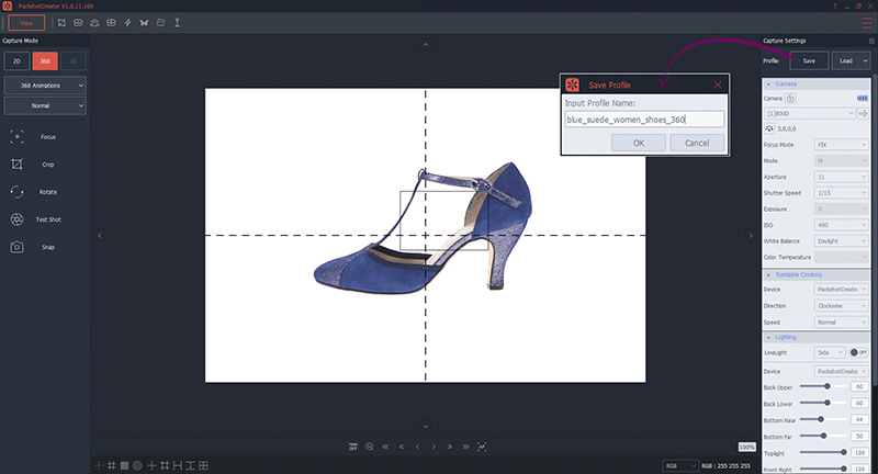 Ajustes de camara para guardar un perfil de foto 360° de zapatos