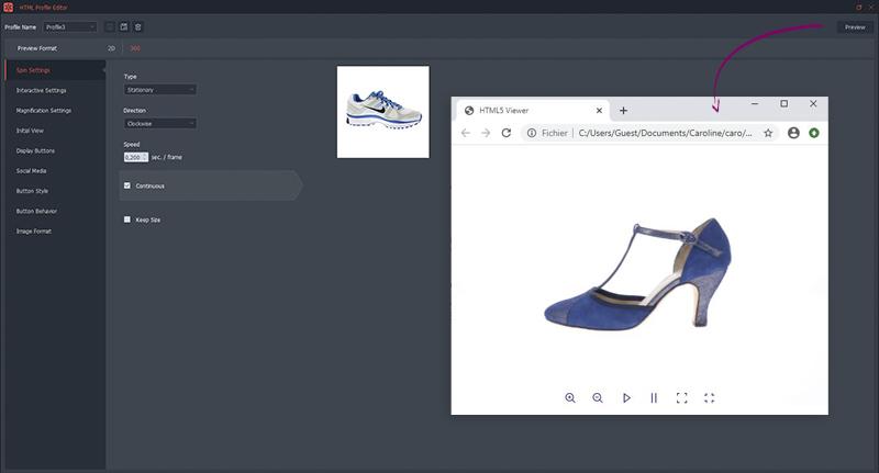 Como personalizar una foto 360° HTML5 de zapatos?