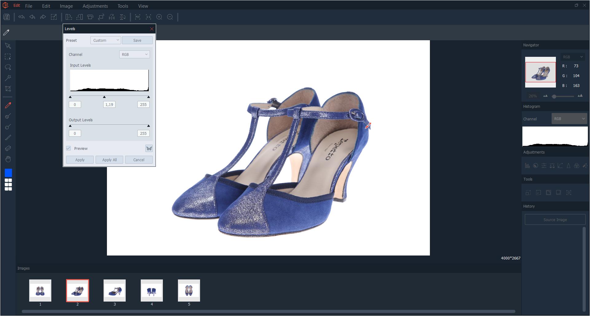 edicion multiple fotografias multiangulos de zapatos