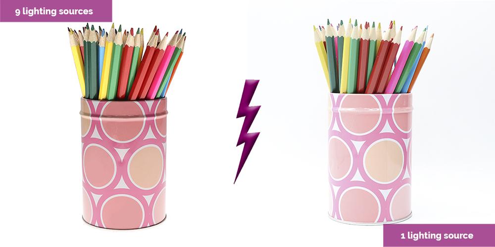 lápices de colores con dos luces diferentes - fotografia de productos iluminacion