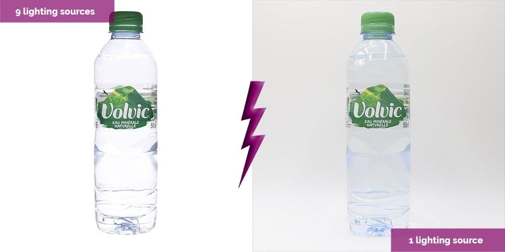 botella transparente con dos luces diferentes