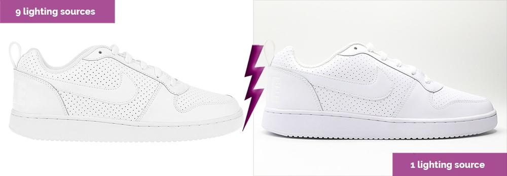 zapato blanco con dos luces diferentes