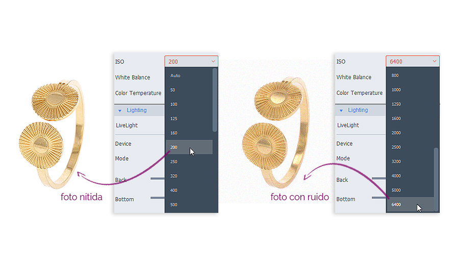 ajustando la ISO en el software para fotografiar joyas