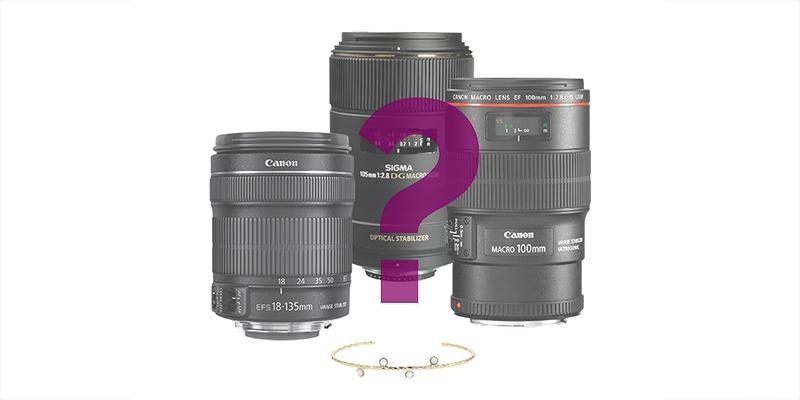 lente fotográfico para fotografiar joyas, piedras preciosas o relojes